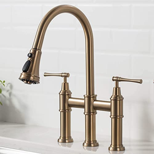 Kraus Allyn Transitional Bridge Kitchen Faucet with Pull-Down Sprayhead, Brushed Gold