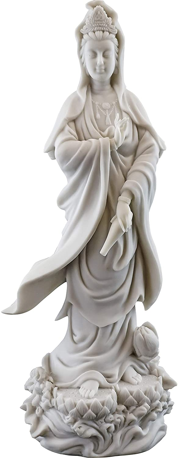 Top Collection Quan Yin Statue on Lotus Pedestal - Kwan Yin Goddess of Mercy and Compassion Sculpture in White Marble Finish- 12.5-Inch Buddhist Figurine