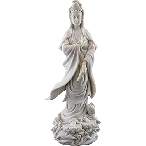 Top Collection Quan Yin Statue on Lotus Pedestal – Kwan Yin Goddess of Mercy and Compassion Sculpture in White Marble Finish- 12.5-Inch Buddhist Figurine