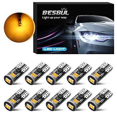 Besbul 194 LED Bulb Amber, Ultra Bright 6000K Universal Fit T10 LED Bulb Amber, 168 LED Bulb, 2825 LED Bulb, W5W LED Bulb, 194 LED Interior Light for Car Amber Yellow, Pack of 10: Automotive