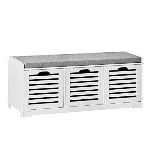 SoBuy® White Storage Bench with 3 Drawers & Removable Seat Cushion ...