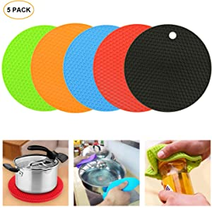 Silicone Trivet Mats 5 Pack Silicone Pot Holders Hot Pads Insulation Non-Slip Drying Mat Silicone Heat Resistant Trivet Mat (5 Colors)