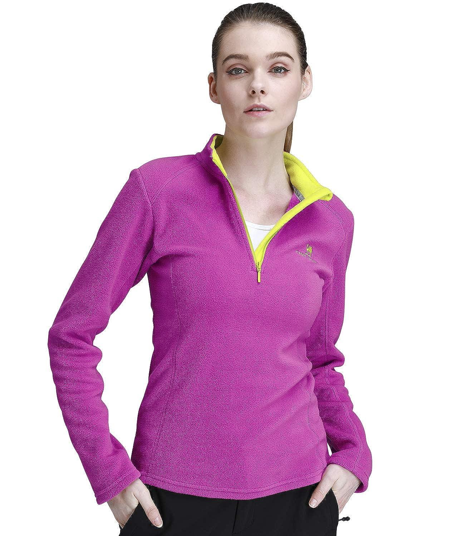 CAMEL CROWN Women's Fleece Pullover Jackets Lightweight Half Zip Soft Sweatshirts Fleece Sweater Coat Sport Outdoor