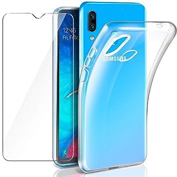Leathlux Samsung Galaxy A20 Funda + Cristal Protector de Pantalla, Transparente TPU Silicona [Funda + Vidrio Templado] Ultra Fino Protector de ...
