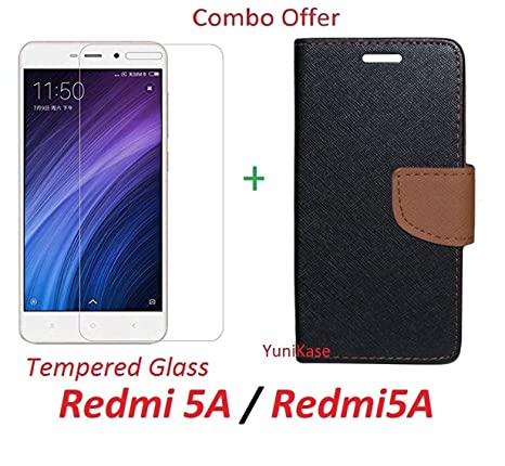 pretty nice 7af01 00788 YuniKase COMBO OFFER Xiaomi Redmi 5A / Redmi5A Flip Cover Case Wallet Style  Cover + Premium Tempered Glass Screen Protector (BROWN)