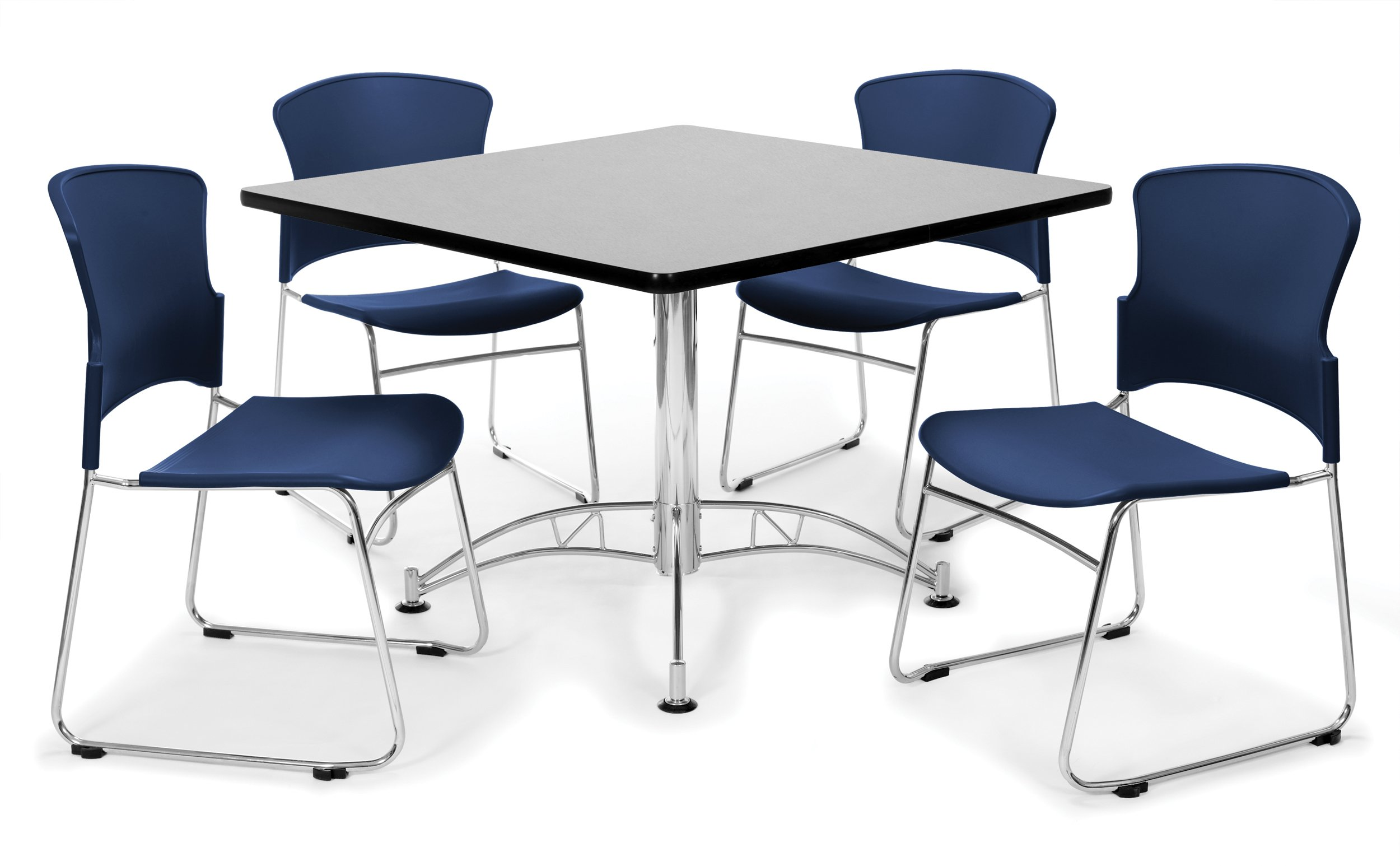 OFM PKG-BRK-11-0008 Breakroom Package, Gray Nebula Table/Navy Chair by OFM