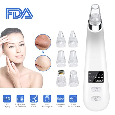 Blackhead Remover Suction Blackhead Vacuum Pore Vacuum Cleanser Suction Acne Comedone Extractor tool USB Rechargeable Blackhead Suction Blackhead remover kit for Facial Skin