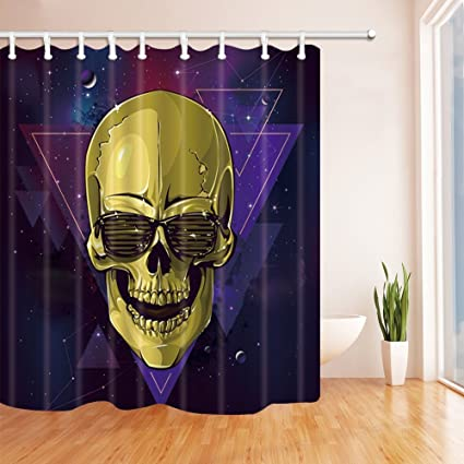 nymb halloween shower curtains for bathroom goldenrod skull against stars and night backdrop polyester