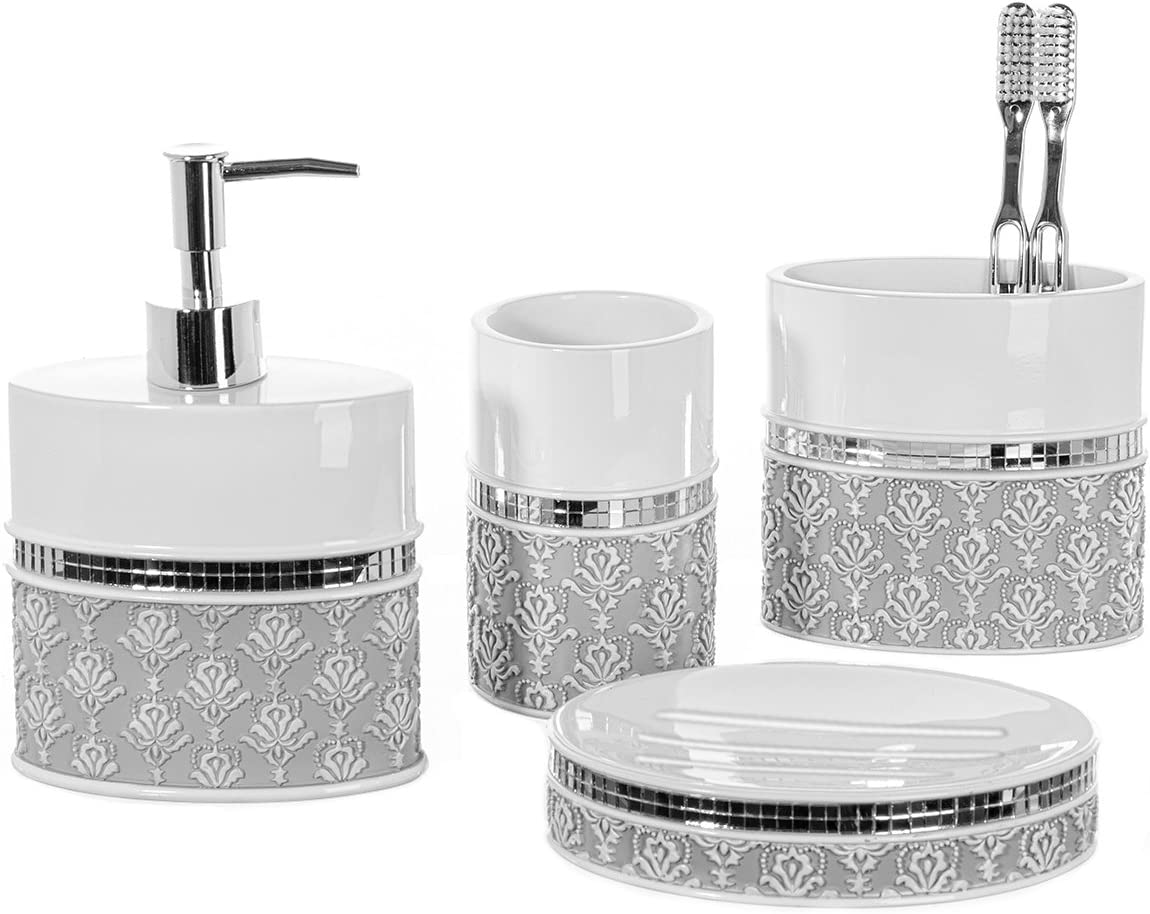 Amazon Com 4 Piece Bathroom Accessory Set Gift Package Soap Dish And Dispenser Toothbrush Holder And Tumbler Cup Mirror Damask Style By Creative Scents Kitchen Dining
