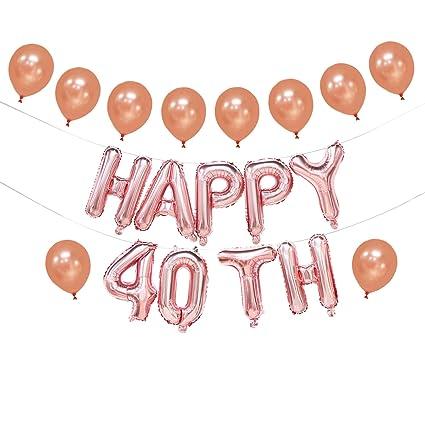 Globos de 40 cumpleaños de oro rosa | pancarta de 40 ...
