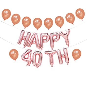 Happy 40th Birthday Balloons Rose Gold