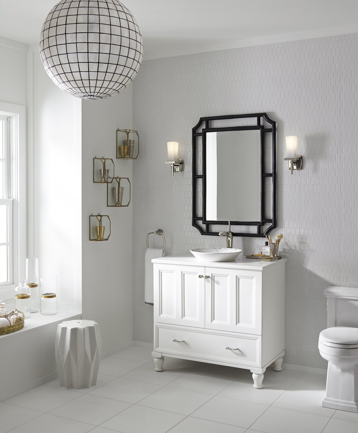 KOHLER K-99519-LG-1WA Damask Vanity with Furniture Legs and 2 Doors and 1 Drawer, 36-Inch, Linen White - Combines with Solid/Expressions(TM) and Ceramic/Impressions(TM) vanity tops (sold separately) for a complete vanity Frameless construction with full-overlay doors Three-way adjustable slow-close door hinges with 110-degree opening capability for easy cabinet access - bathroom-vanities, bathroom-fixtures-hardware, bathroom - 71b5cP47AXL -