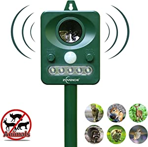 ZOVENCHI 2 Choose Solar Powered Ultrasonic Animal and Pests Repeller, Outdoor Weatherpro