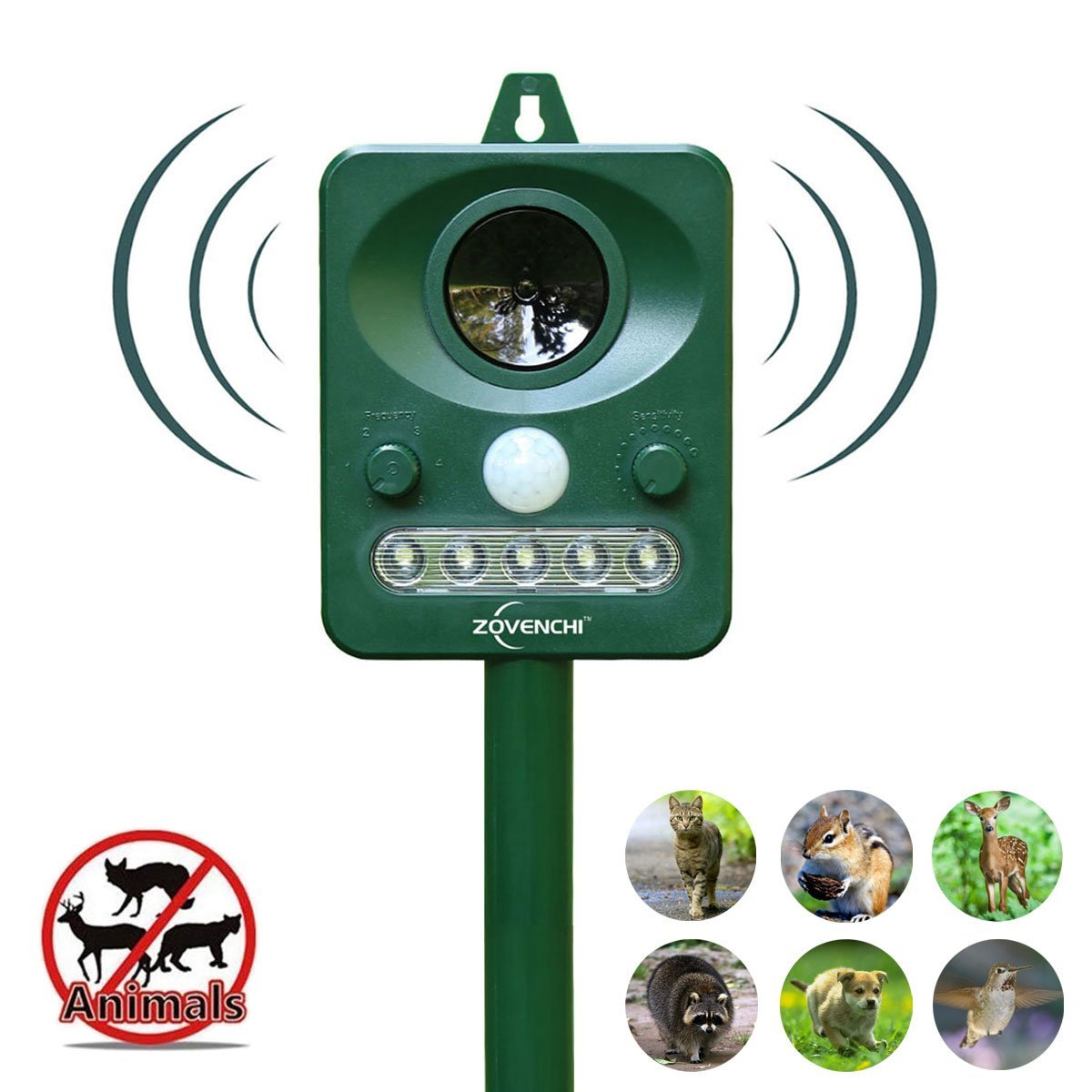 ZOVENCHI 2 Choose Solar Powered Ultrasonic Animal and Pests Repeller, Outdoor Weatherpro, 2 by ZOVENCHI