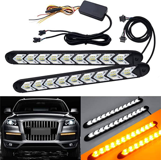 2* 60CM Amber Sequential LED DRL Turn Signal Light Strip For Car Headlight US