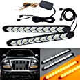 """SOCAL-LED 2x Arrow LED DRL Switchback Strips 10"""" (25cm) 12V Sequential Flashing Turn Signal Lights, Dual-Color Amber White"""