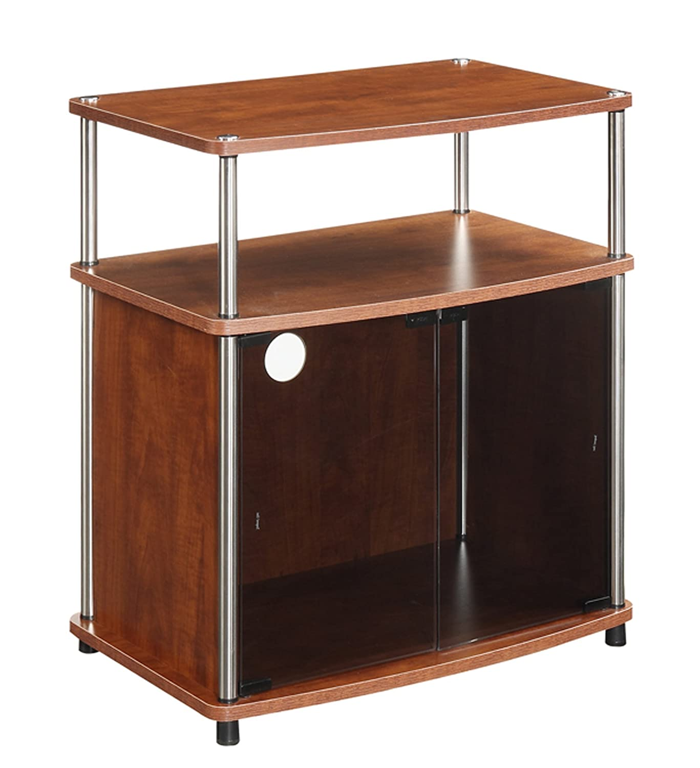 Convenience Concepts TV Stand with Black Glass Cabinet, Cherry