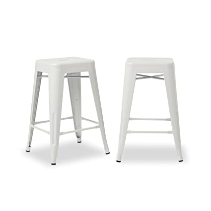 Outstanding Amazon Com Svitlife Tabouret 24 Inch White Metal Counter Pabps2019 Chair Design Images Pabps2019Com