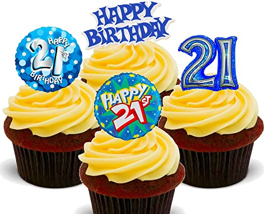 Enjoyable 21St Birthday Male Edible Cupcake Toppers Stand Up Wafer Cake Personalised Birthday Cards Veneteletsinfo