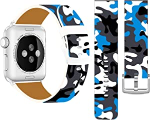 Band Compatible with Iwatch 42mm/44mm & Cisland Leather Strap Compatible with Apple Watch Series 1/2/3/4/5/6/SE Sport & Edition Cool Blue and Gray Camouflage