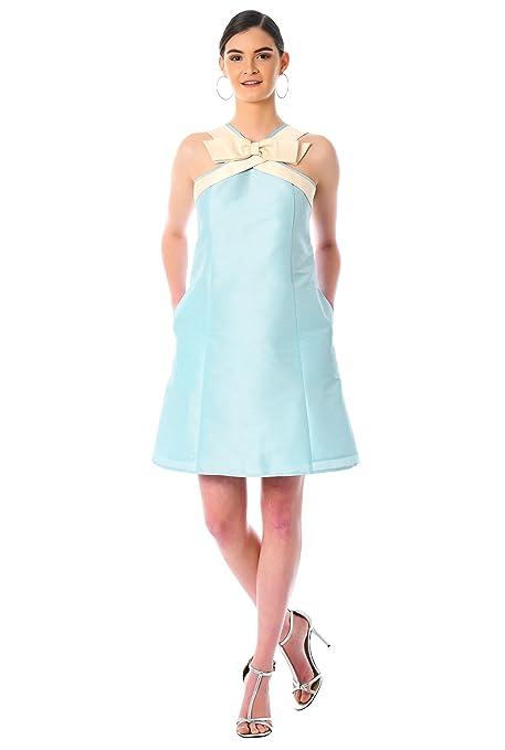 1960s Dresses: New 60s Style Dresses – Jackie O to Mod eShakti Womens Bow Tie dupioni Shift Dress $74.95 AT vintagedancer.com