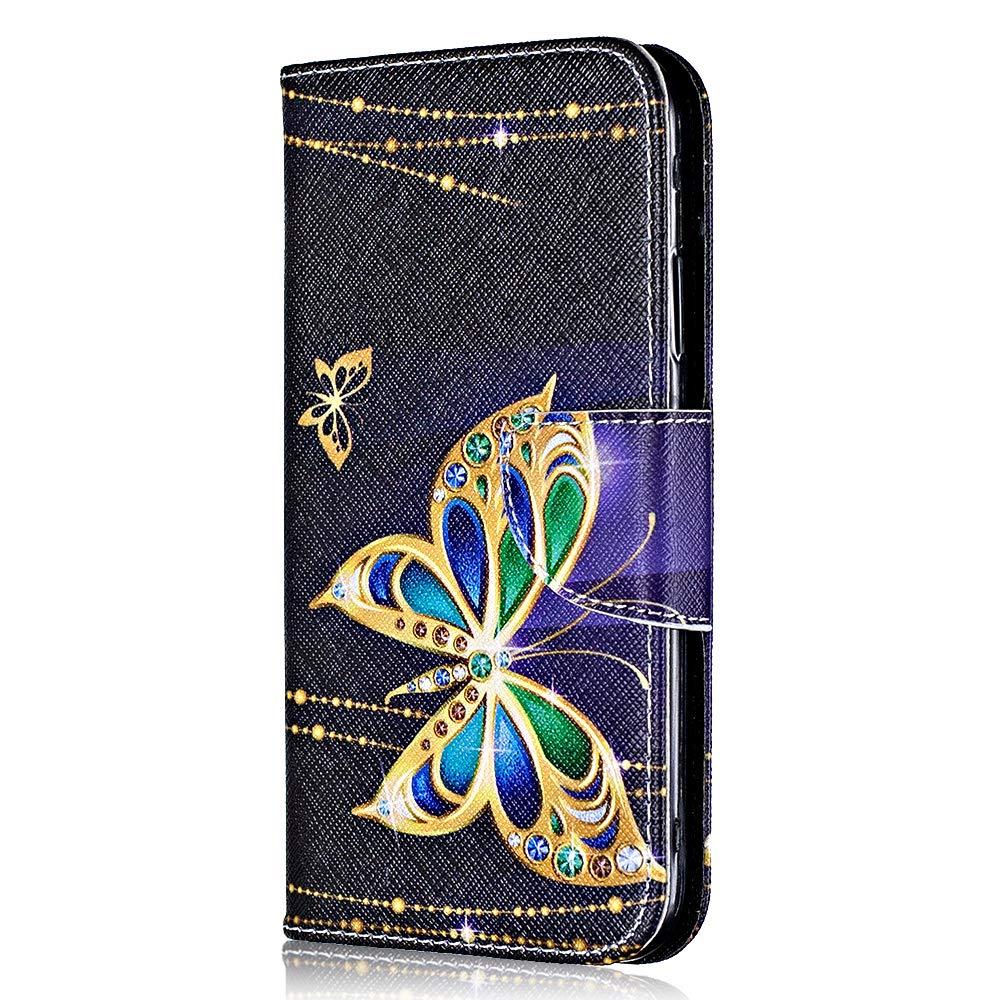 Coque LG K7, Bear Village® Motif Peint Étui en Cuir avec Slots pour ID et Cartes, Premium Housse avec Fonction Stand pour LG K7 (#4 Papillon)
