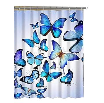 Amazon Com Alibuy Blue Butterfly Pattern Waterproof Bath Shower