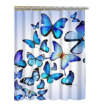 Alibuy Blue Butterfly Pattern Waterproof Bath Shower Curtains Fabrics Curtain With Free 12 Hooks180x180cm
