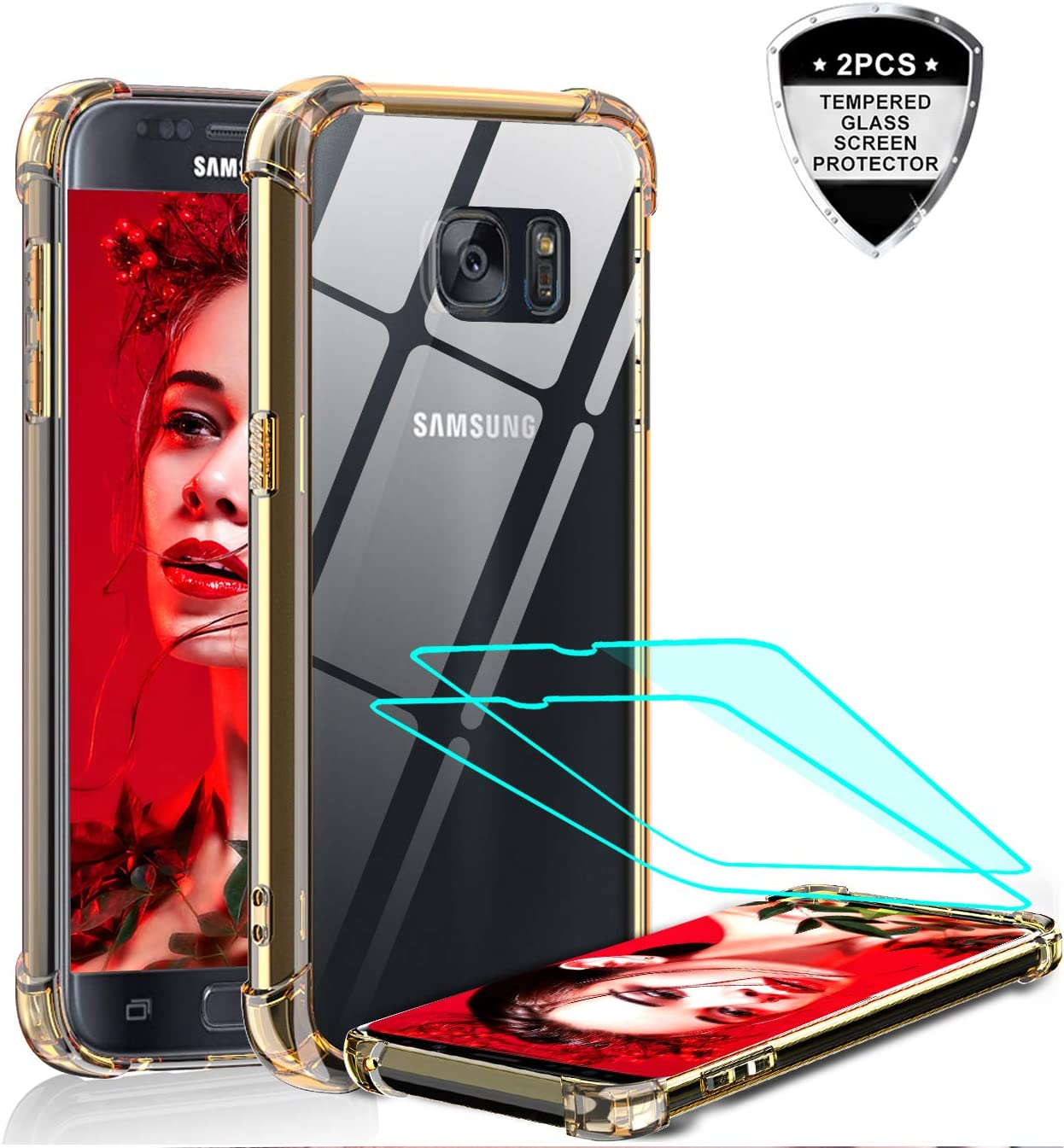 LeYi Galaxy S7 Case, Samsung Galaxy S7 Case with 2 Pack Tempered Glass Screen Protector, Shockproof Crystal Clear Hard PC Bumper Transparent Slim Protective Phone Cover Cases for Samsung S7 Rose Gold