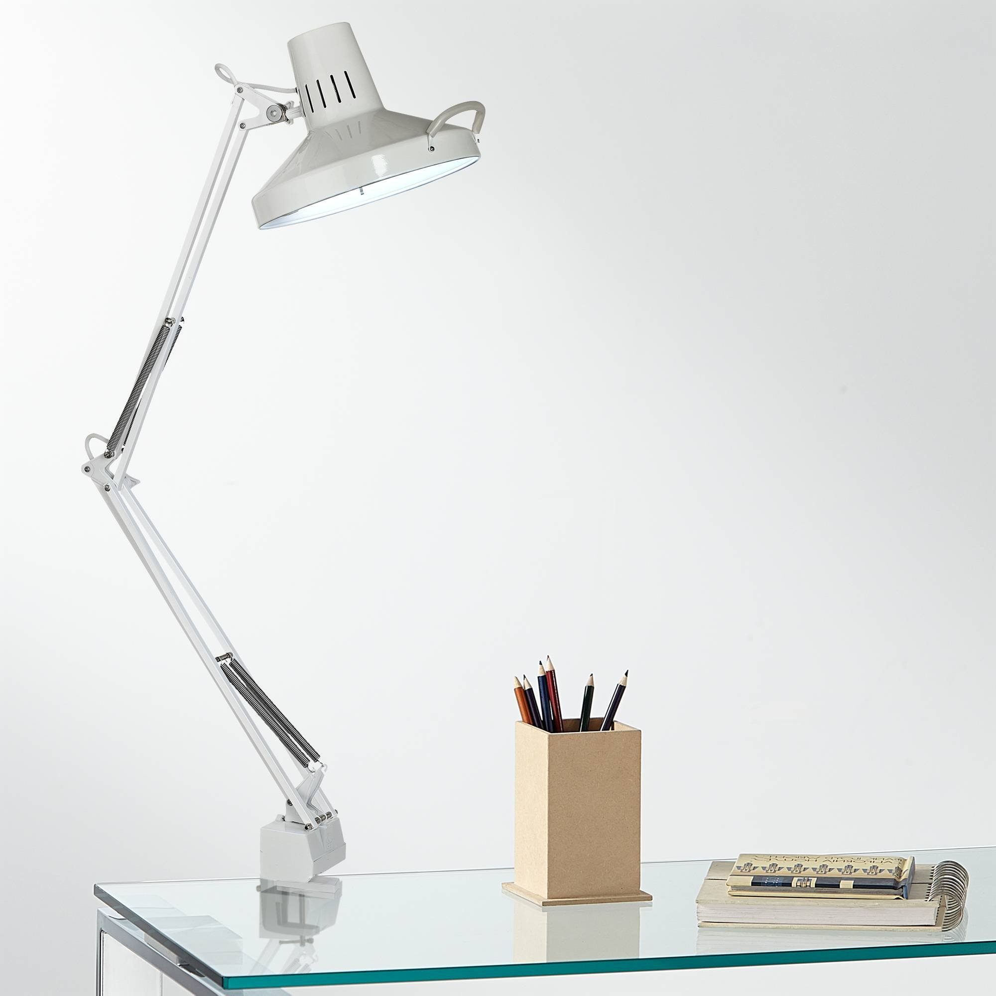 Architect Style White Metal Clamp-On Adjustable Desk Lamp - 360 Lighting