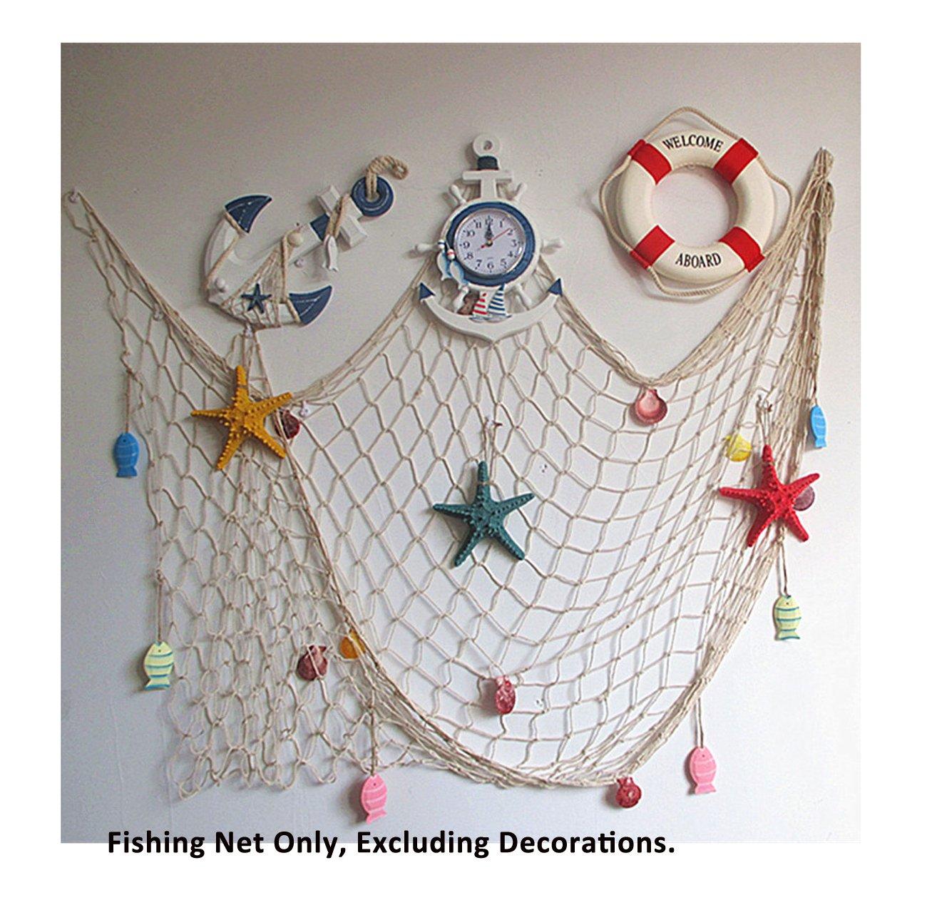 Mediterranean Decorative Nautical Fish Net - Anchor Sea Shells Home Party Decoration 39''x 79''