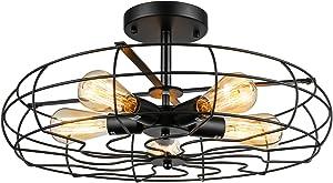 Industrial Vintage Semi Flush Mounted Ceiling Light - LITFAD 21