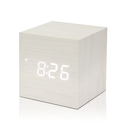 Allomn Cubo Di Legno A Led Sveglia Digitale Orologio Da Tavolo Voice Control Termometro Timer Calendario White White Led Amazon It Casa E Cucina