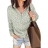 BTFBM Women Leopard Print Sweatshirts Long Sleeve Comfy Soft Lightweight Ladies Zip Up Mock Neck Pullovers Tops Shirts