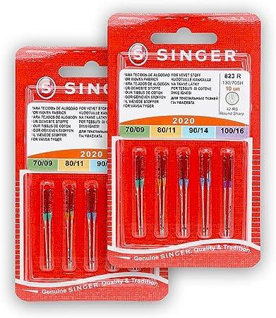 Singer Pack de 2 Paquetes de Agujas 2020 823R Surtido para Tejidos de Algodón 130/705 H 70-80-90-100 Universal: Amazon.es: Hogar