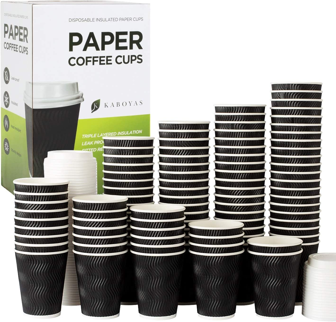 KABOYAS 12 oz [100 Set] Togo Disposable Black Paper Coffee Cups with Lids   Hot Beverages   Expresso   Tea   Coffee   Latte   Hot Chocolate   Cocoa