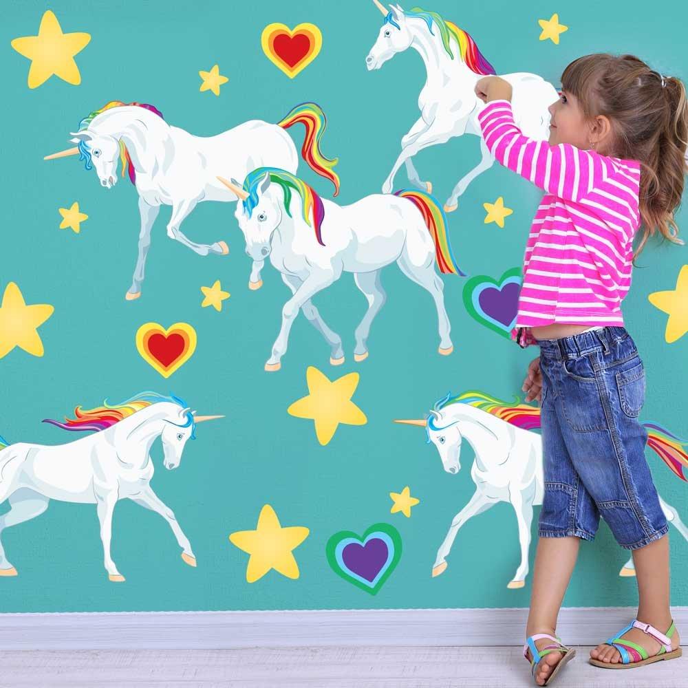 Amazon.com: Chromantics Rainbow Unicorn Wall Decal Set   Large Unicorn Wall  Decal By: Home U0026 Kitchen