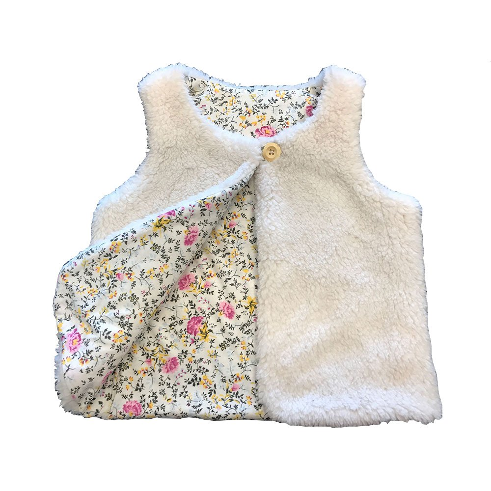 Anna King Lightweight Vest Waistcoat for Little Girls Autumn Winter Thick Cute Warm Sleeveless Outerwear Princess Waistcoat Jackets White