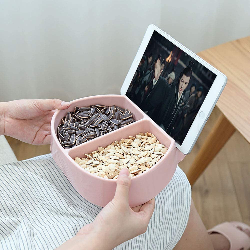 Pink rose CTGVH Obst-Snackteller Box mit Handyhalter Kindergeschenk kreatives Aufbewahrungsetui Kunststoff 1 St/ück Lebensmittel-Organizer Tablett mit zwei Gittern