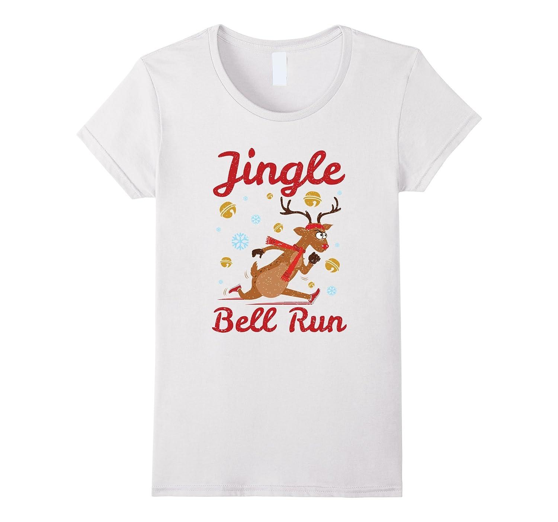Womens Jingle Bell Run Christmas Running Shirt-ANZ - Anztshirt