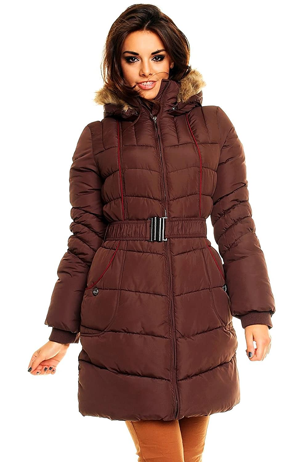Fresh Made Steppmantel Mantel Wintermantel Steppjacke mit FellKapuze XL (40) Bean Brown