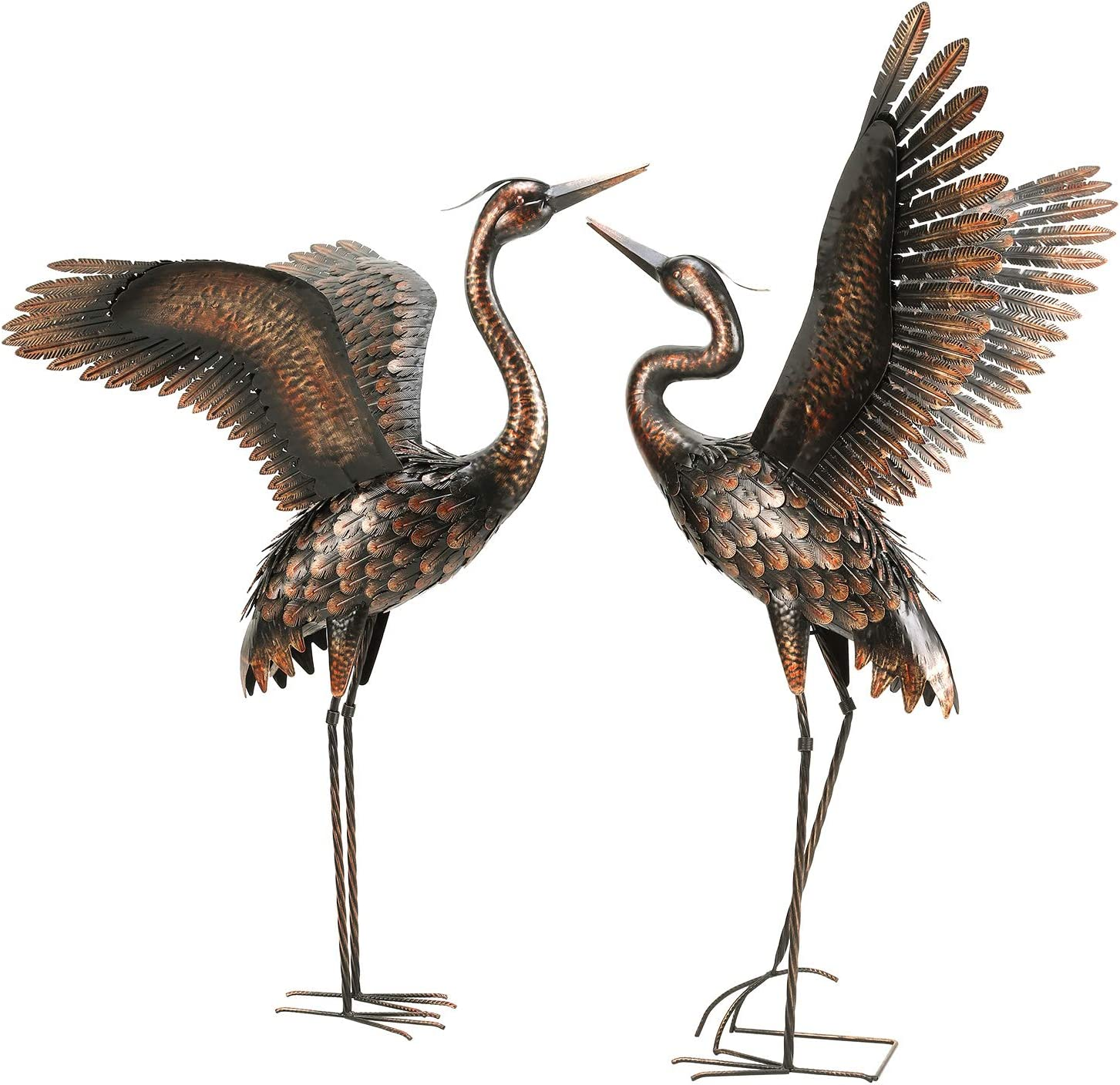 chisheen Garden Crane Statues for Outdoor Metal Yard Art Heron Statues Sculptures