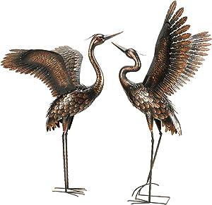chisheen Garden Crane Statues for Outdoor Metal Yard Art Heron Statues Sculptures