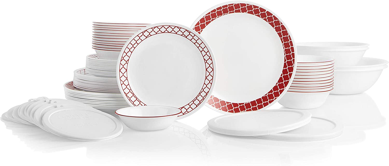 Corelle 78-Piece Service for 12, Chip Resistant, Crimson Trellis Dinnerware Set
