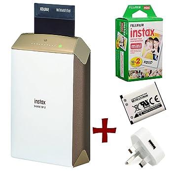 Fuji Instax SHARE SP-1 smartphone de WiFi portátil inmediata de la foto de la impresora + 40 Instax Mini impresiones + Piezas Baterías CR2 (Impresora ...