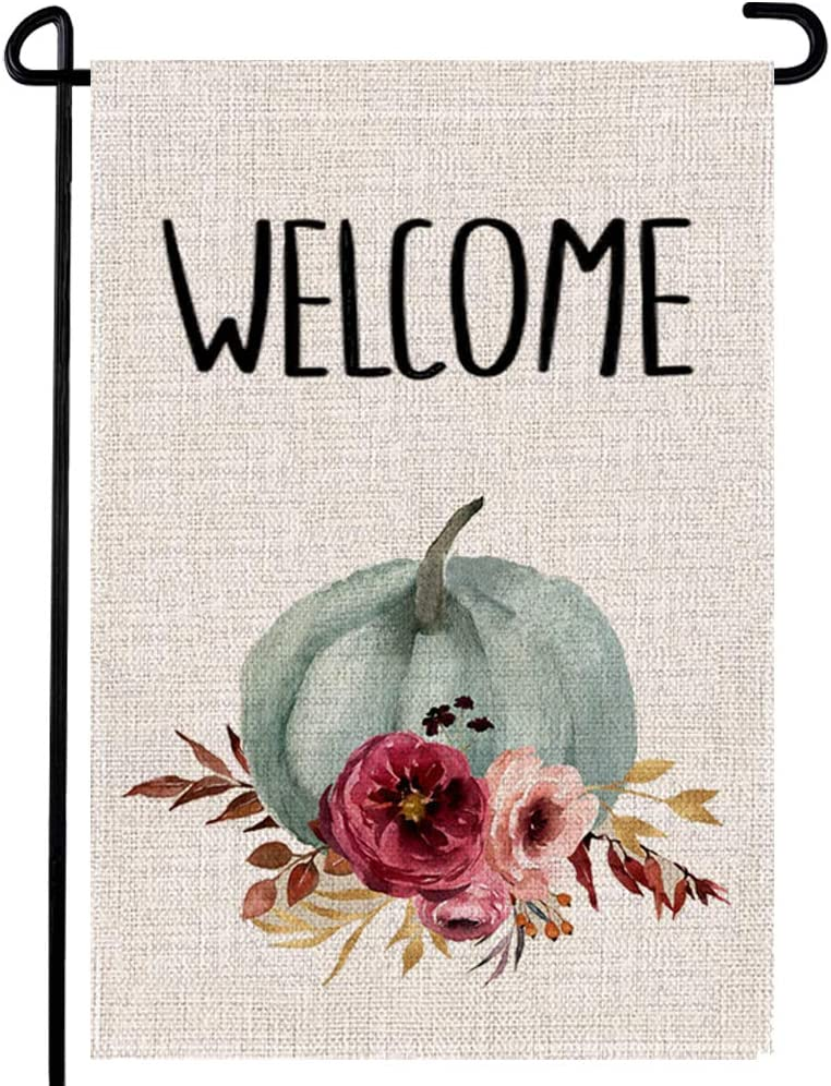 Pumpkin Watercolor Welcome Flag Autumn Garden Thanksgiving Rustic Flower Yard House Double Sided Seasonal Decoration 12.5 x 18 Inch