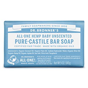Dr. Bronner's - Pure-Castile Bar Soap (Baby Unscented, 5 ounce) - Made with Organic Oils, For Face, Body and Hair, Gentle for Sensitive Skin and Babies, No Added Fragrance, Biodegradable, Vegan