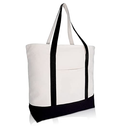 DALIX 22 quot  Large Cotton Canvas Zippered Shopping Tote Grocery Bag ... 32df6600ef145