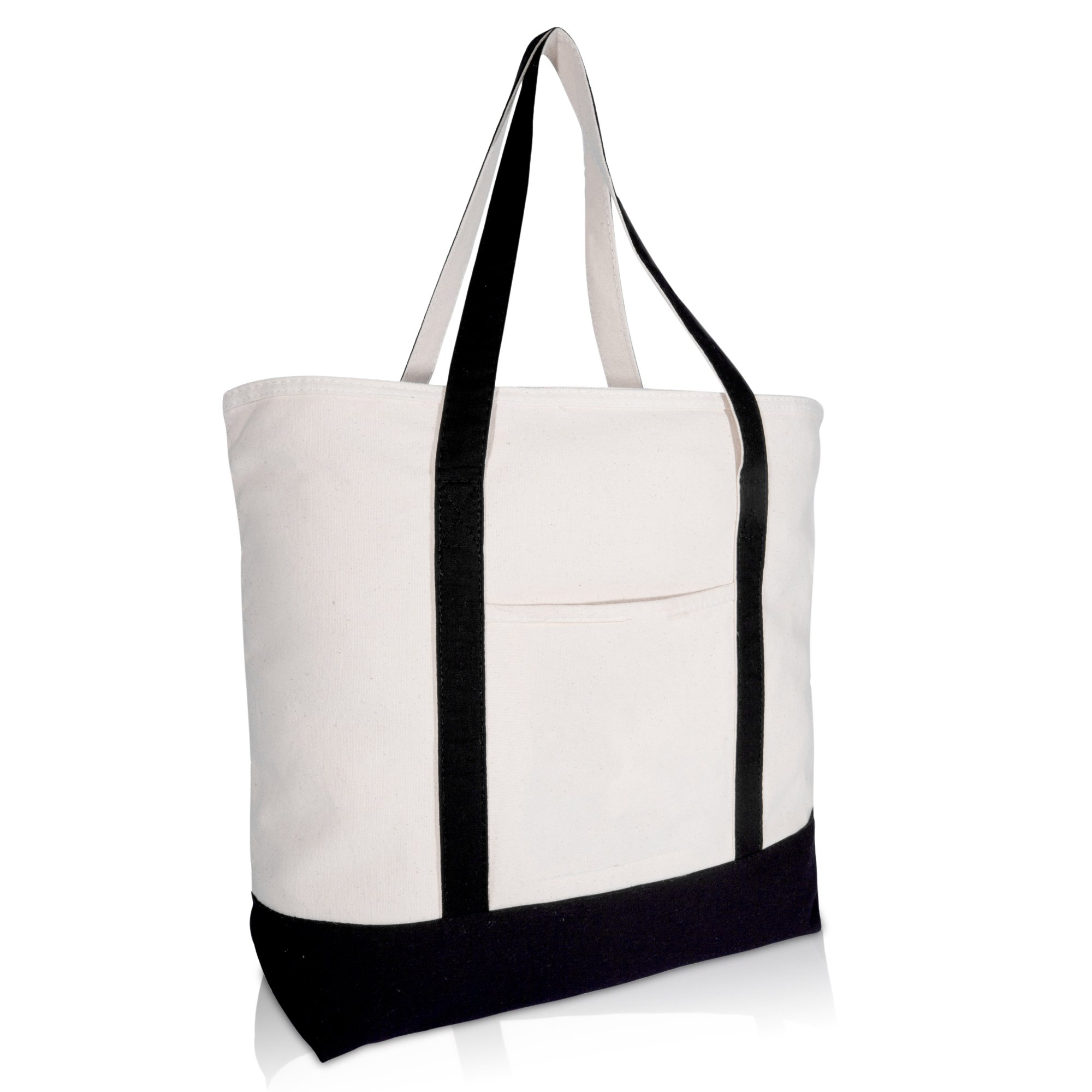 DALIX 22'' Large Cotton Canvas Zippered Shopping Tote Grocery Bag in Black