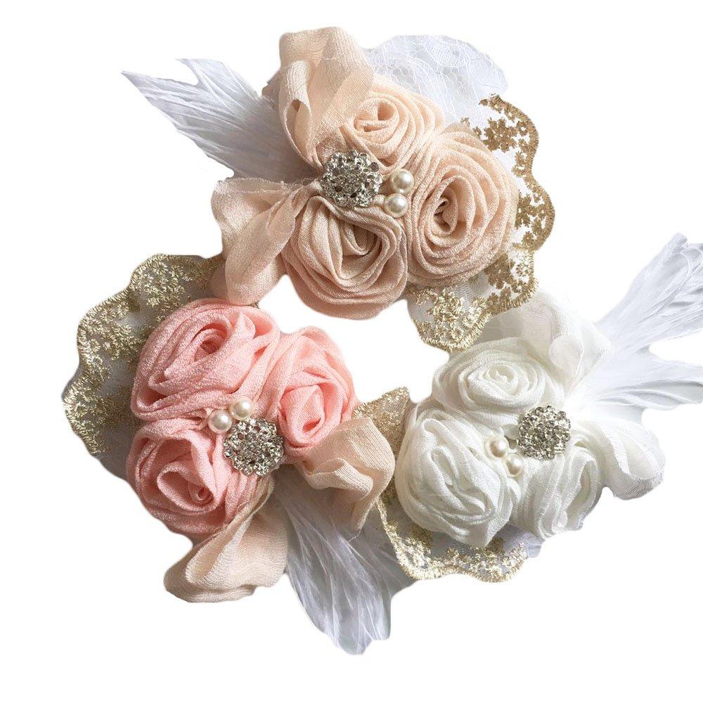 DANMY Luxury Rhinestone Lace Headband Girls Rose Flowers Net Yarn Hair Band Baby Big Bow Hair Accessories (Gauze (3pcs)) by DANMY (Image #1)